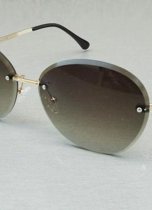 Bvlgari очки женские солнцезащитные серо зеленые с градиентом безоправные