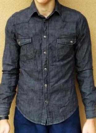 Стильная джинсовая  приталённая рубашка