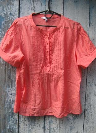 Рубашка блуза оверсайз 40% шелк 60% хлопок батал marks spenser