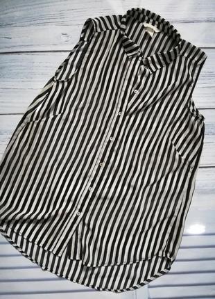 Блуза, рубашка в черно - белую полоску без рукавов.