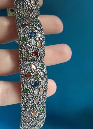 Шикарный серебряный браслет бархат