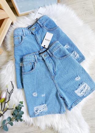 Крутые джинсовые шорты на высокой посадке