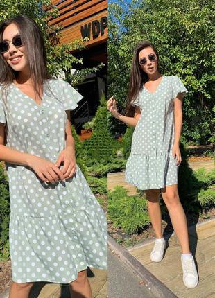 Платье в горошек под кроссовки мята