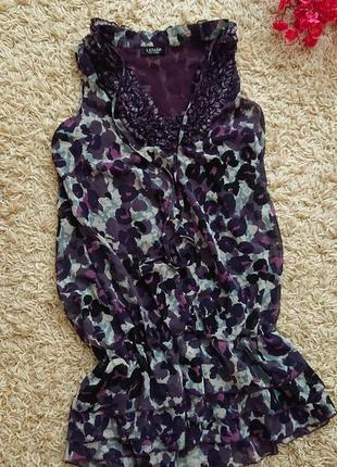 🔥 акция 🏷️ красивая шифоновая женская майка , туника с рюшами р.m/l, блуза