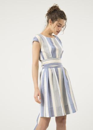 Летнее платье из льна season в полоску