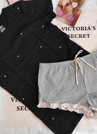 Комплект пижамка для дома, сна футболка и шортики victorias secret