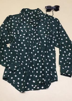 Шикарная шёлковая блуза в горохи 100% шёлк