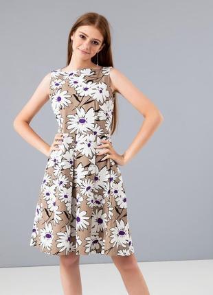 Летнее платье season с бежевое с цветами