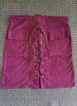 Замшевая юбка на завязках