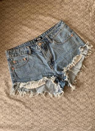 Шорты шортики джинсовые высокая посадка женские bik bok 42-44 р голубые необработанный ни