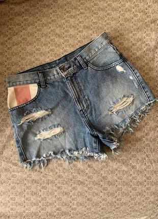 Шорты шортики vans джинсовые женские с потертостями дырками высокая посадка