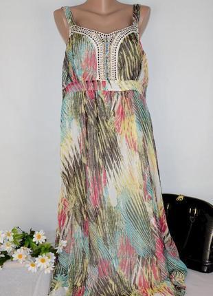 Разноцветное шифоновое нарядное макси платье сарафан casual collection debenhams индия