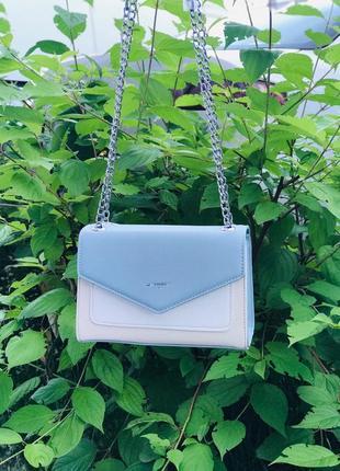 Сумка клатч кроссбоди небольшая сумочка белая голубая