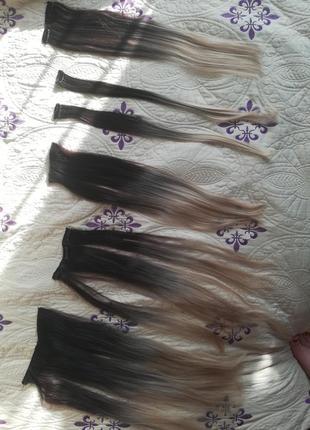 Волосы на заколках омбрэ. термо