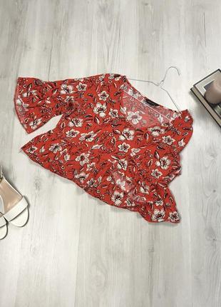 Блузка new look красная кофта женская рубашка цветочная разноцветная блузка летняя кофта