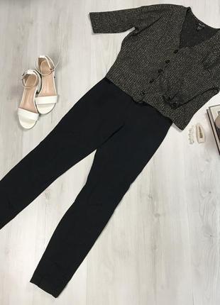 Зауженные высокие черные брюки h&m