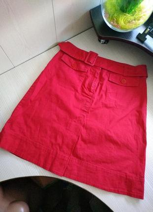 Стильная брендовая юбка с поясом/красная юбка миди/красивая юбка трапеция с высокой талией