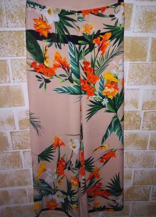 Летние брюки тропический принт/брюки прямого кроя