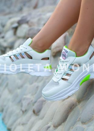 Кроссовки с зеленой отделкой, кроссовки, кеды, мокасины 36-408 фото
