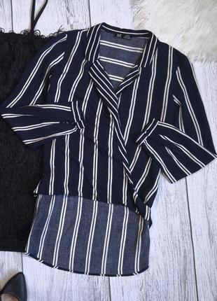 Синяя рубашка в полоску с удлиненной спиной от zara
