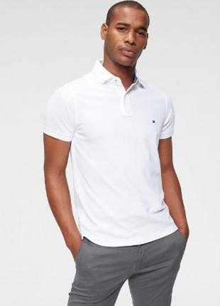 Мужская белая футболка-поло от tommy hilfiger