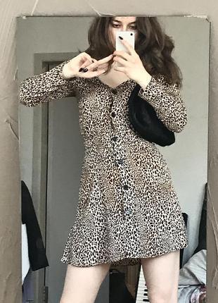 Яркое платье принт леопард сарафан