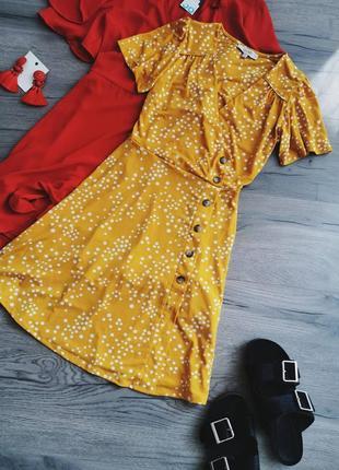 Платье с имитацией запаха в горох