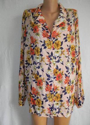 Натуральная блуза рубашка большого размера с цветочным принтом