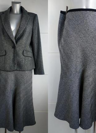 Теплая шерстяная юбка-миди autograph: бренд премиум–класса  в ёлочку