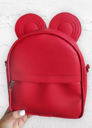 Рюкзак-сумка с ушками мыши, красный