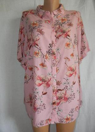 Натуральная блуза рубашка большого размера