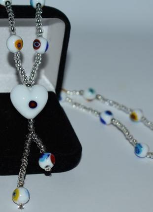 Новое шикарное ожерелье вставки муранское стекло antica murrina вес 23 грамм винтаж