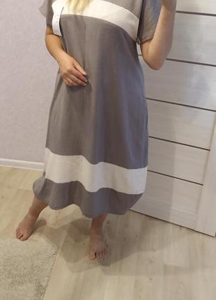 Платье лен большие размеры