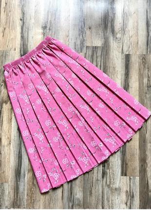 Шикарная юбка в складку, плиссированная юбка цветочный принт