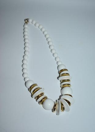 Шикарное ожерелье вставки бусины пластик вставка позолота винтаж