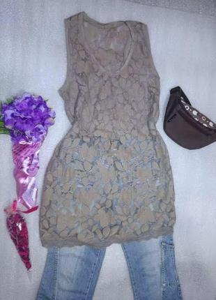 Очень красивое платье - майка .кружево ./размер м /италия