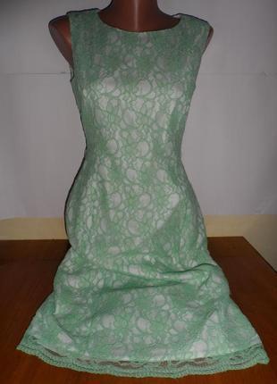 Нарядне гіпюрове плаття 44р. з підкладкою, ніжного кольору стан нового-300 грн