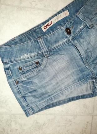 1+1=3 стильные короткие джинсовые шорты с вышивкой only, размер 44 - 465 фото