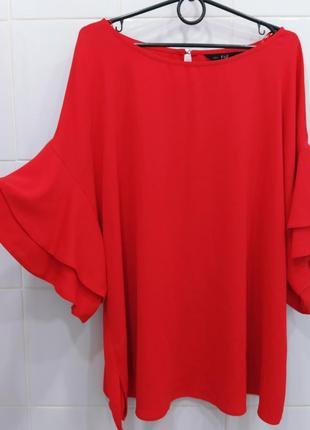 Трендовая красная блуза с интересными рукавчиками
