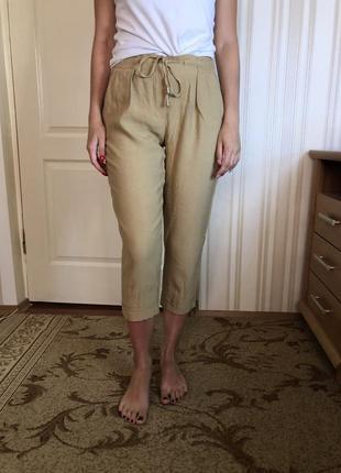 Льняные штаны, штаны из льна, укорочённые штаны из льна
