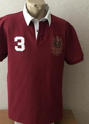 Hang ten  тенниска трикотажная рубашка поло бордовая в идеале