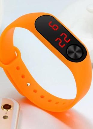 Часы наручные электронные унисекс силиконовые оранжевые