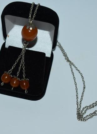Шикарное ожерелье цепочка с янтарем металл вес 9,8 грамм винтаж