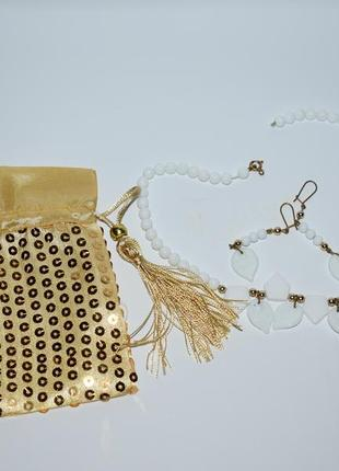 Шикарный комплект мини ожерелье бусы и серьги керамика вес 35,1 грамм винтаж