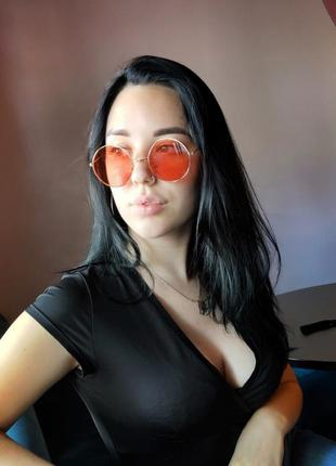 Красных круглые очки, унисекс