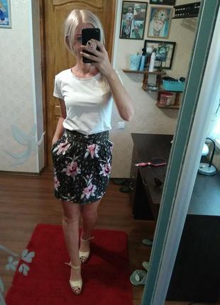 Летняя качество 👍💣 юбочка в цветочный принт- xs s