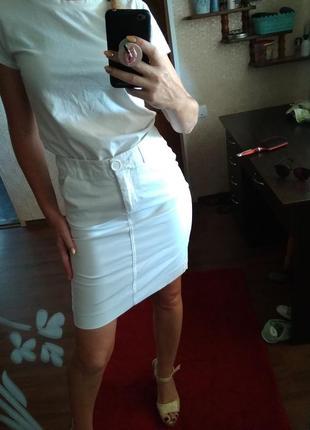 Белоснежная летняя качество 👍💣 юбочка с кармашками- xs s