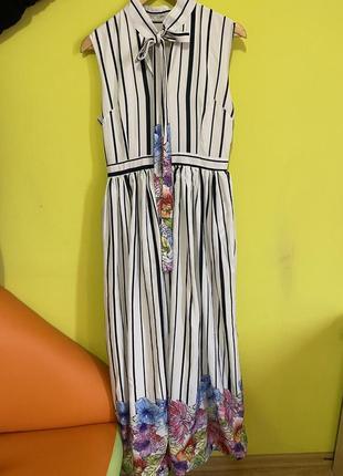 Супер стильное платьев полоску, с акварельным принтом, в пол, behcetti italy.