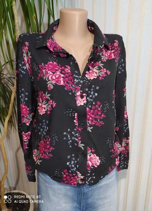 Красивенная хлопковая рубашка с цветами