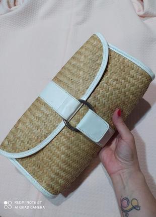 Трендовая плетенная соломянная сумка клатч